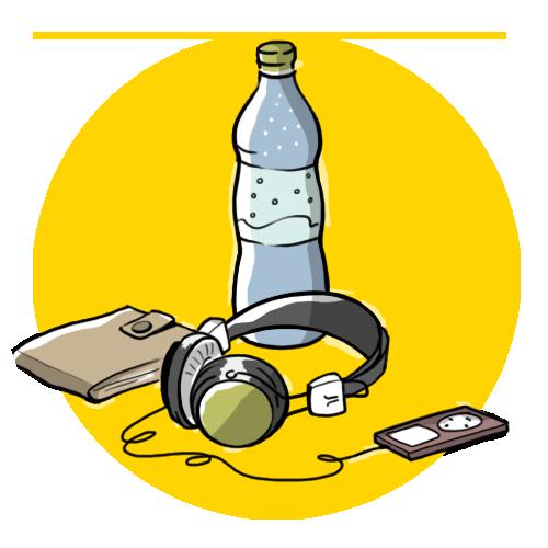 Wasserflasche, Geldbörse und MP3-Player